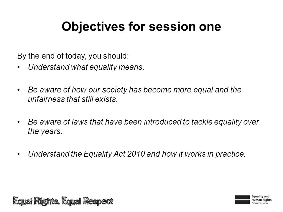 Objectives for session one
