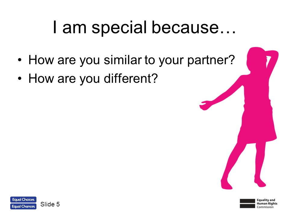 I am special because… How are you similar to your partner