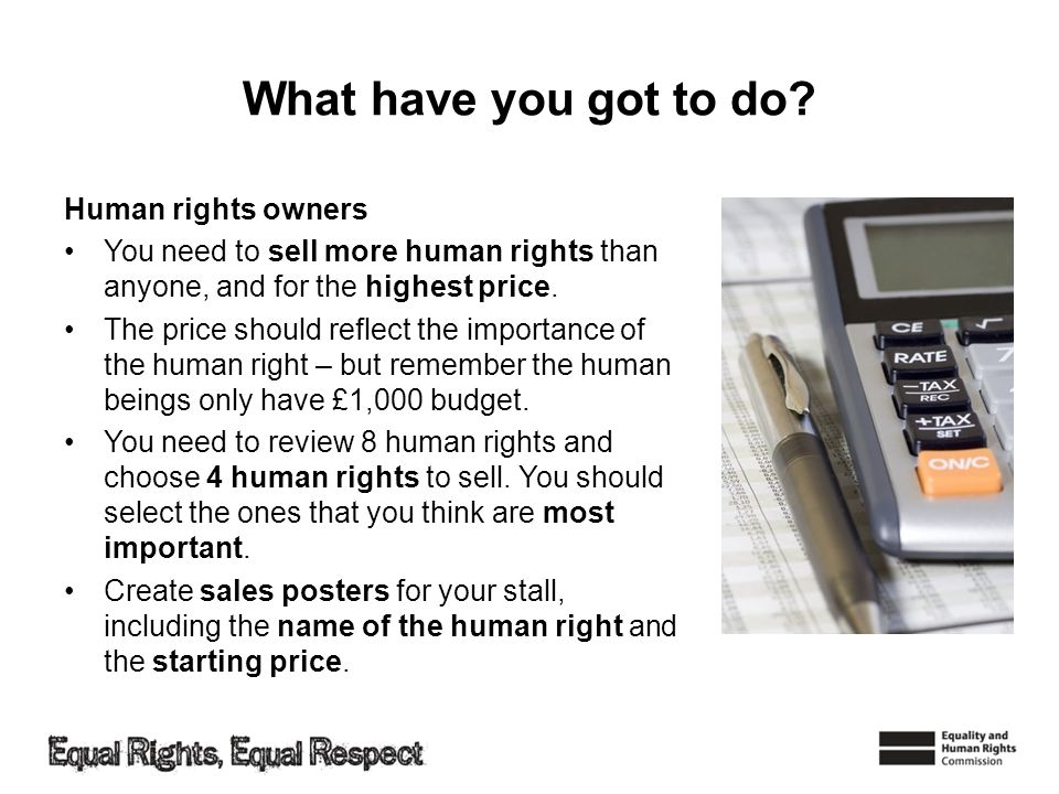 What have you got to do Human rights owners