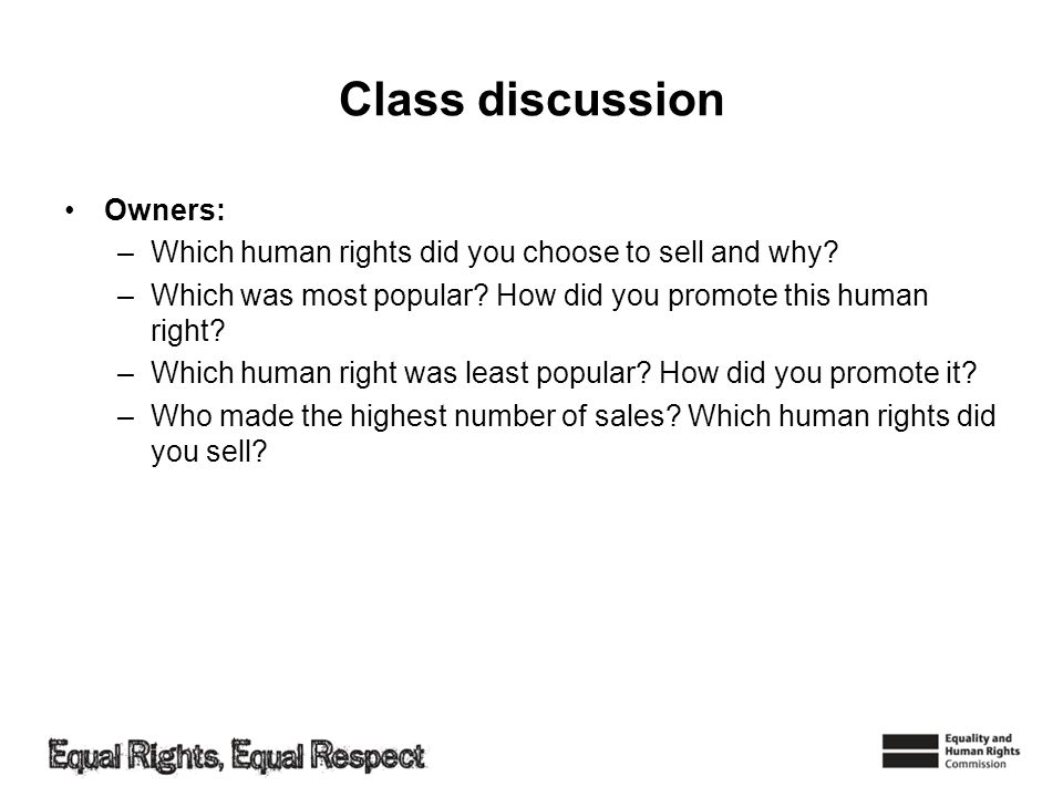 Class discussion Owners: