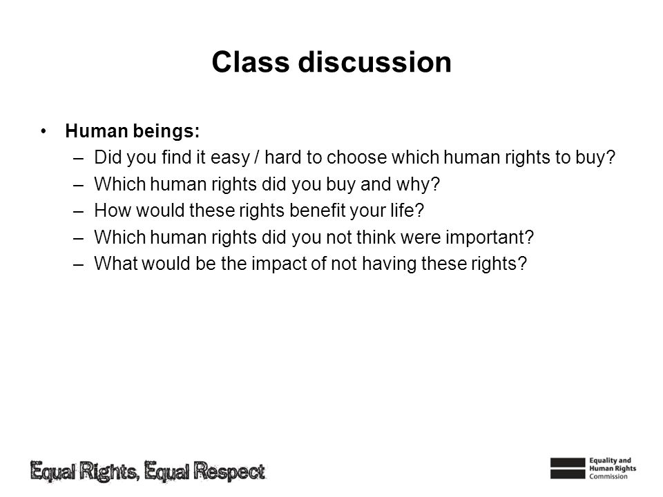 Class discussion Human beings: