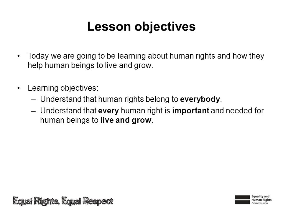 Lesson objectives Today we are going to be learning about human rights and how they help human beings to live and grow.