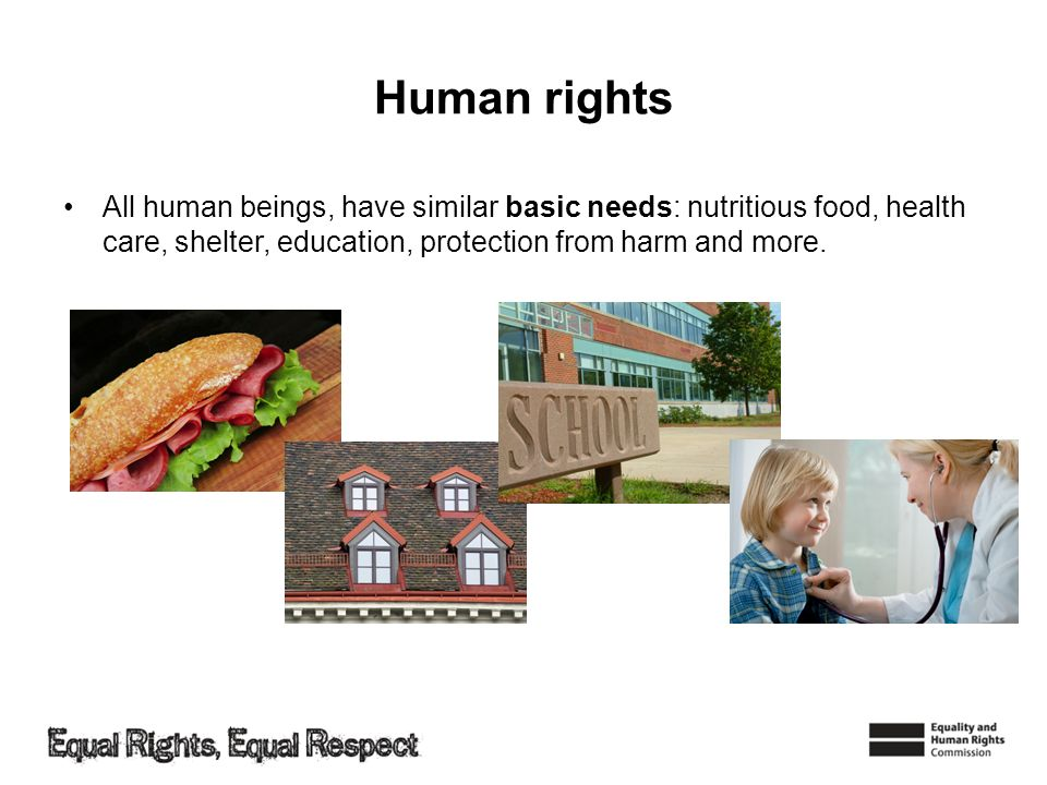 Human rights All human beings, have similar basic needs: nutritious food, health care, shelter, education, protection from harm and more.