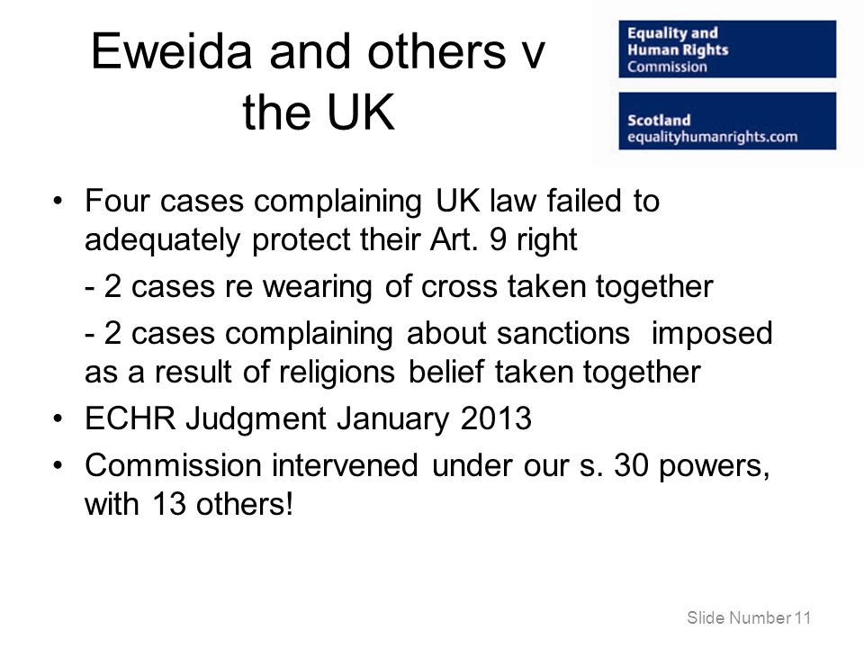 Eweida and others v the UK