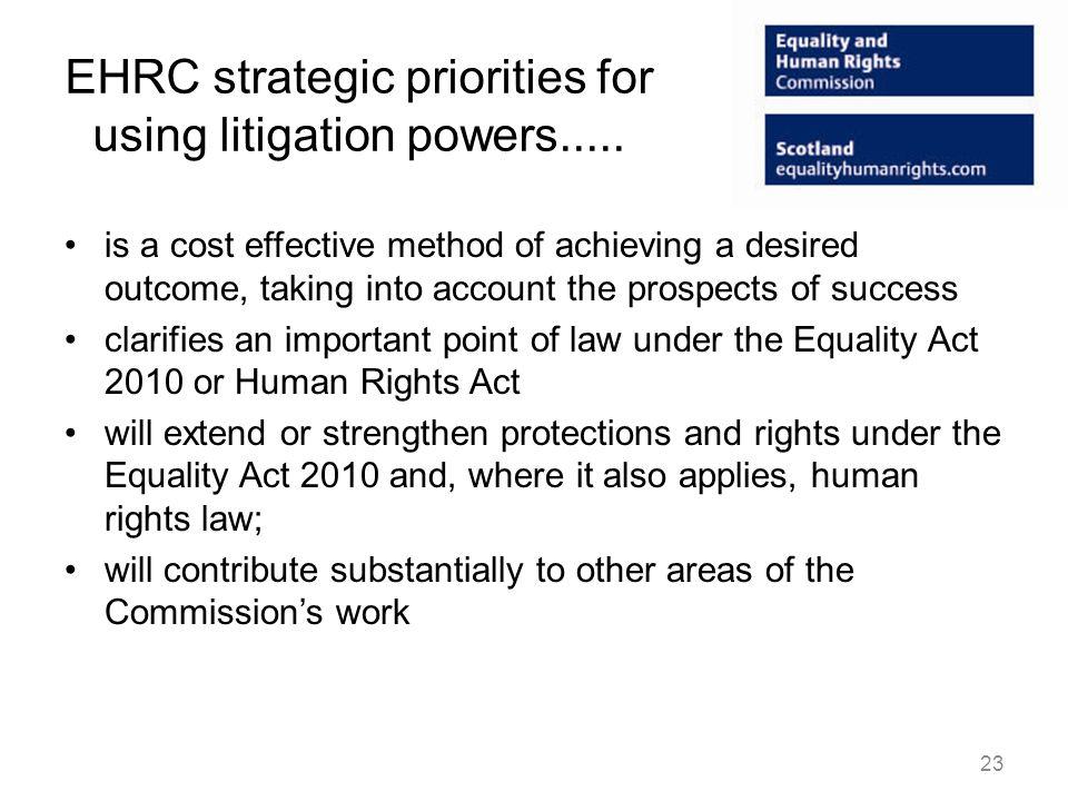 EHRC strategic priorities for using litigation powers.....