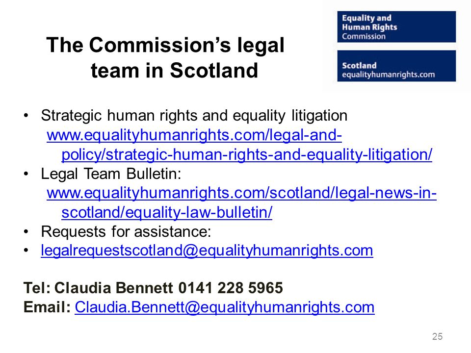 The Commission's legal team in Scotland