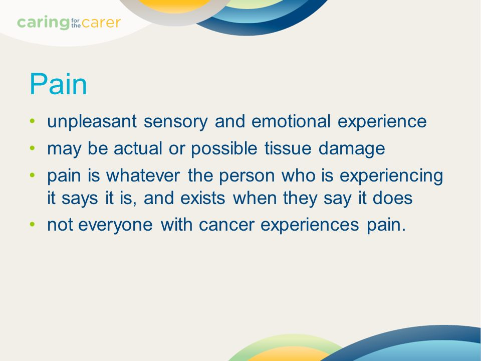 Pain unpleasant sensory and emotional experience