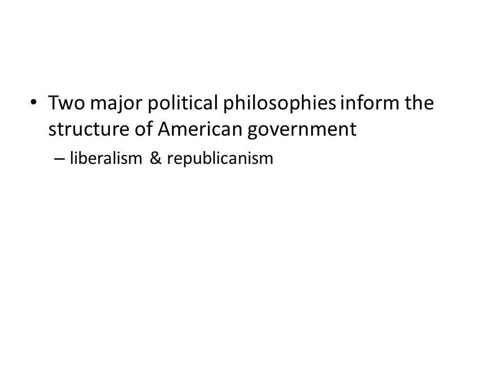 Two major political philosophies inform the structure of American government