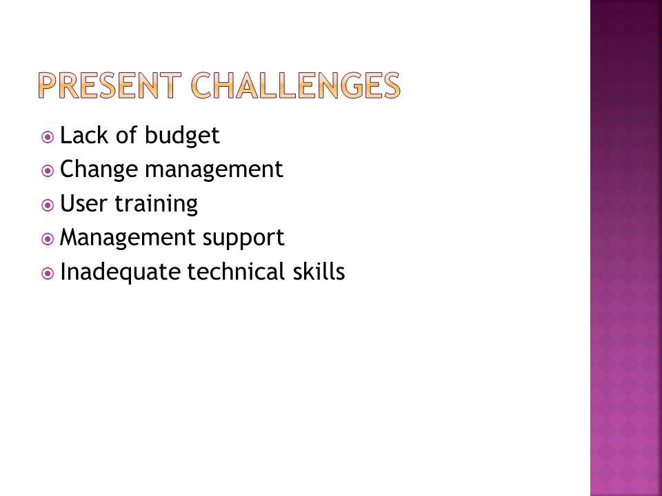 Present Challenges Lack of budget Change management User training