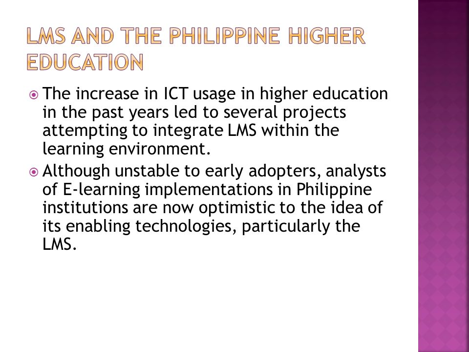LMS and the Philippine Higher Education