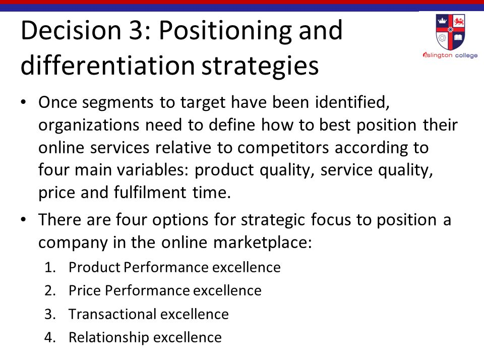 positioning and differentiation strategies What is differentiated instruction examples of how to many educators used differentiated instruction strategies identify an author's position and provide.