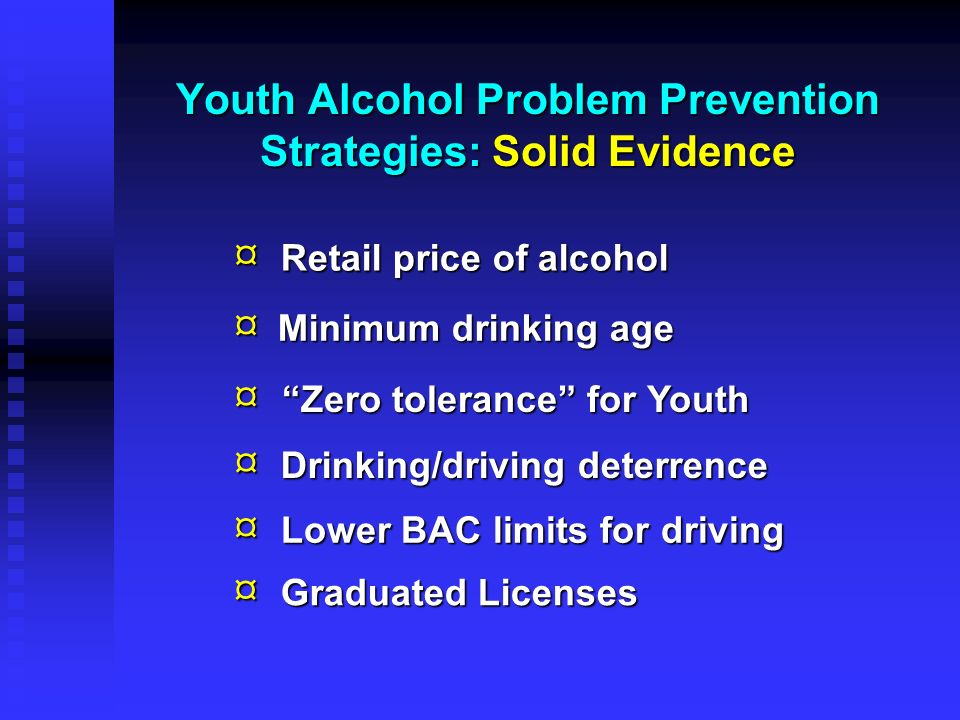 Youth Alcohol Problem Prevention Strategies: Solid Evidence