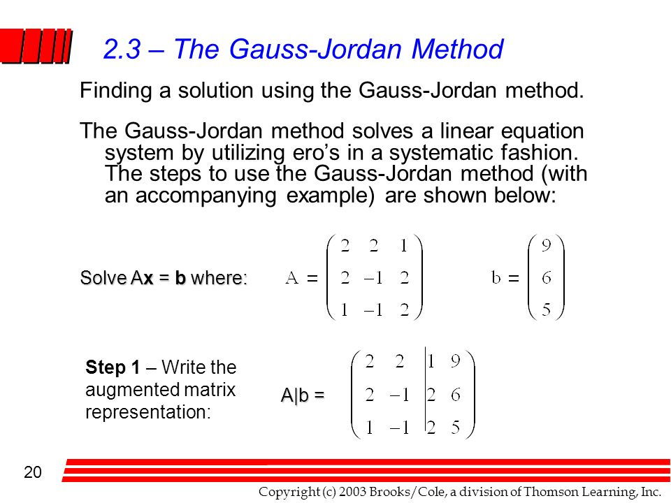 how to use the gauss jordan method