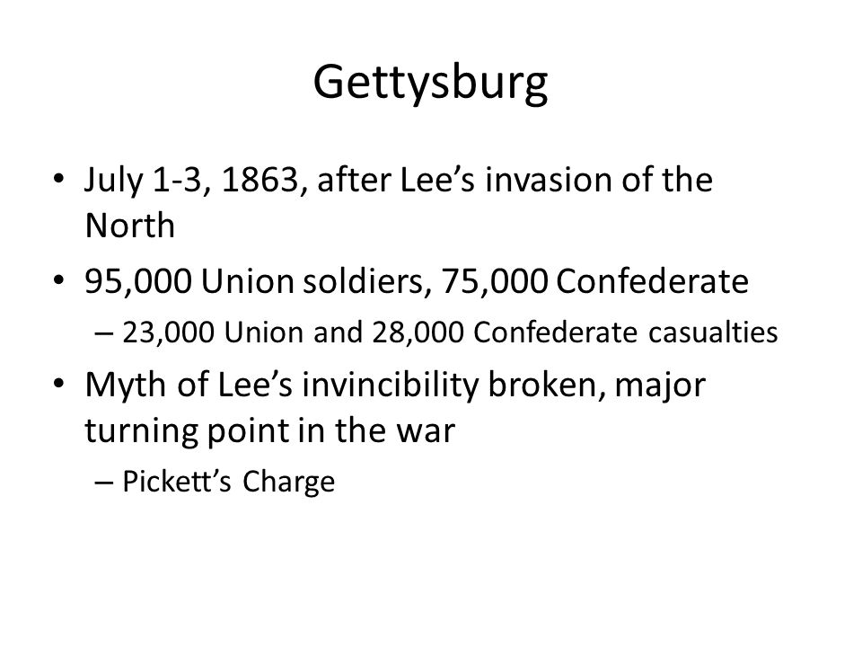 Gettysburg July 1-3, 1863, after Lee's invasion of the North