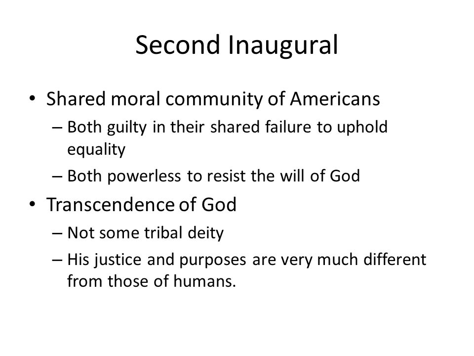Second Inaugural Shared moral community of Americans