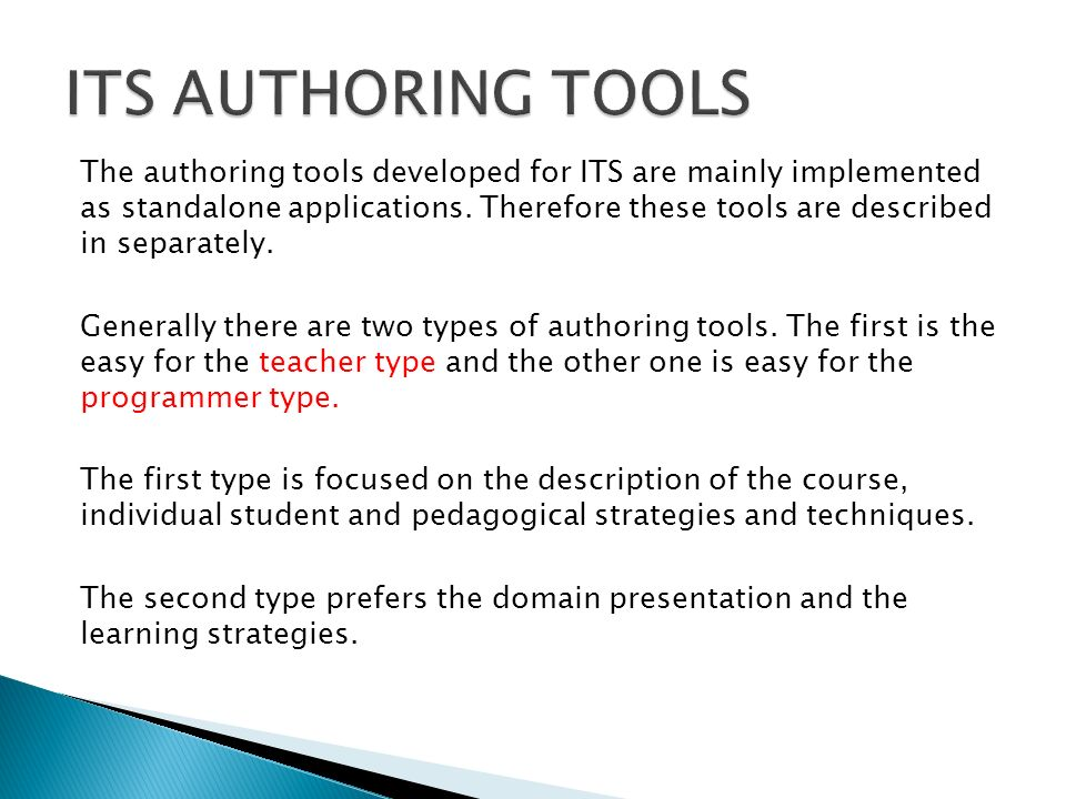 ITS AUTHORING TOOLS
