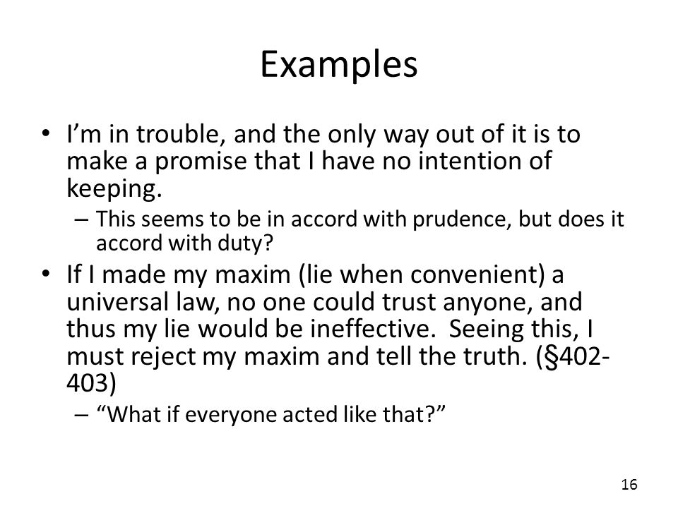 One proposed maxim as a universal law essay