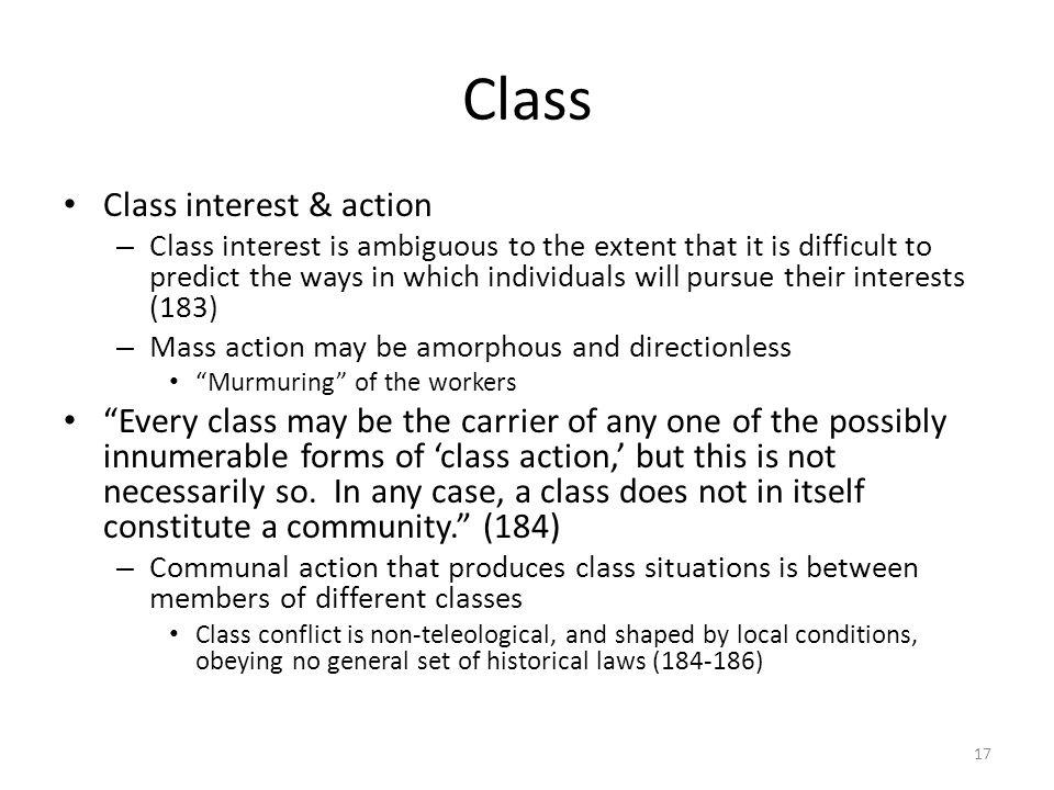Class Class interest & action