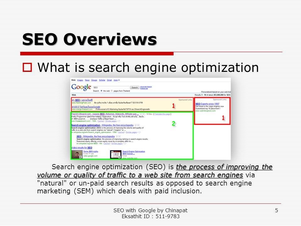 SEO with Google by Chinapat Eksathit ID : 511-9783