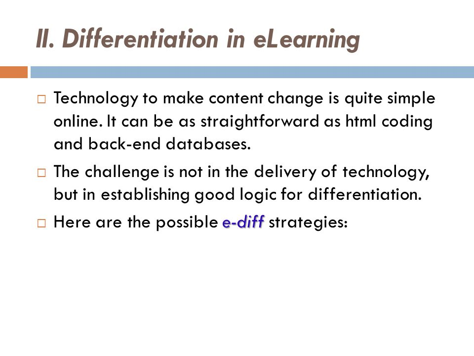 II. Differentiation in eLearning