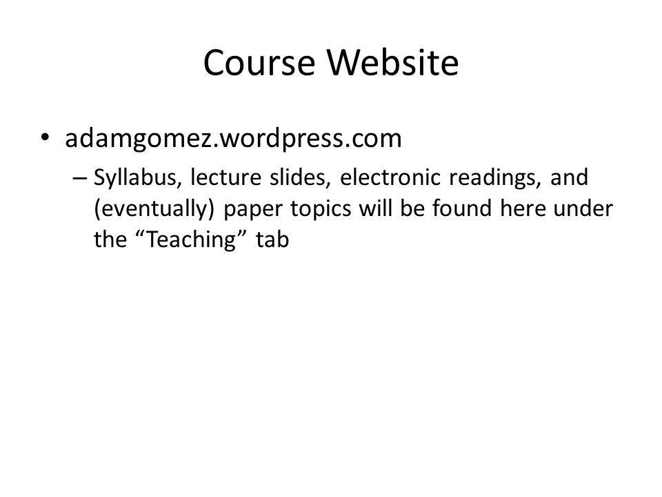 Course Website adamgomez.wordpress.com