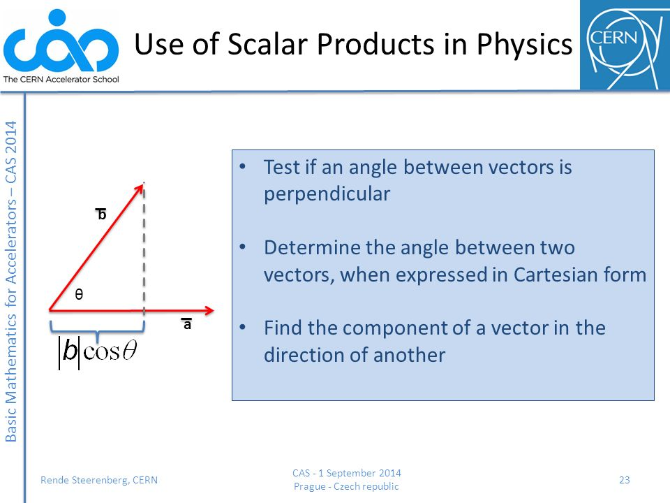 Use of Scalar Products in Physics