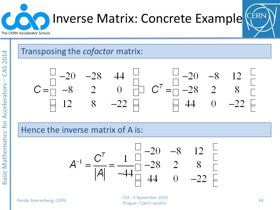 Inverse Matrix: Concrete Example