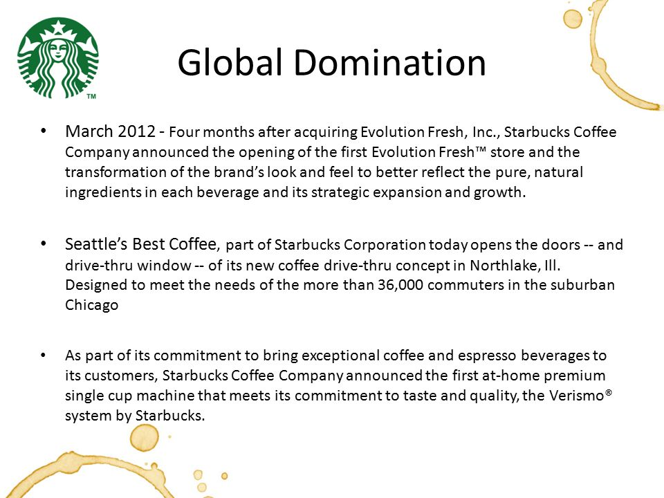starbucks in the global taste essay Starbucks marketing mix current ceo howard schultz joined the company in 1982 and began pressing to have starbucks  starbucks coffee us author rubenfeld, global.
