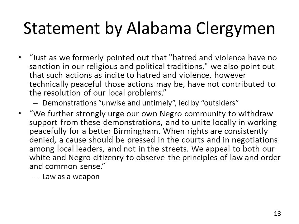 Statement by Alabama Clergymen
