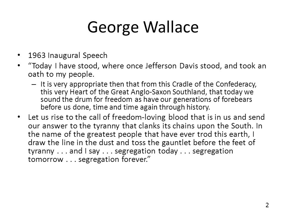 George Wallace 1963 Inaugural Speech