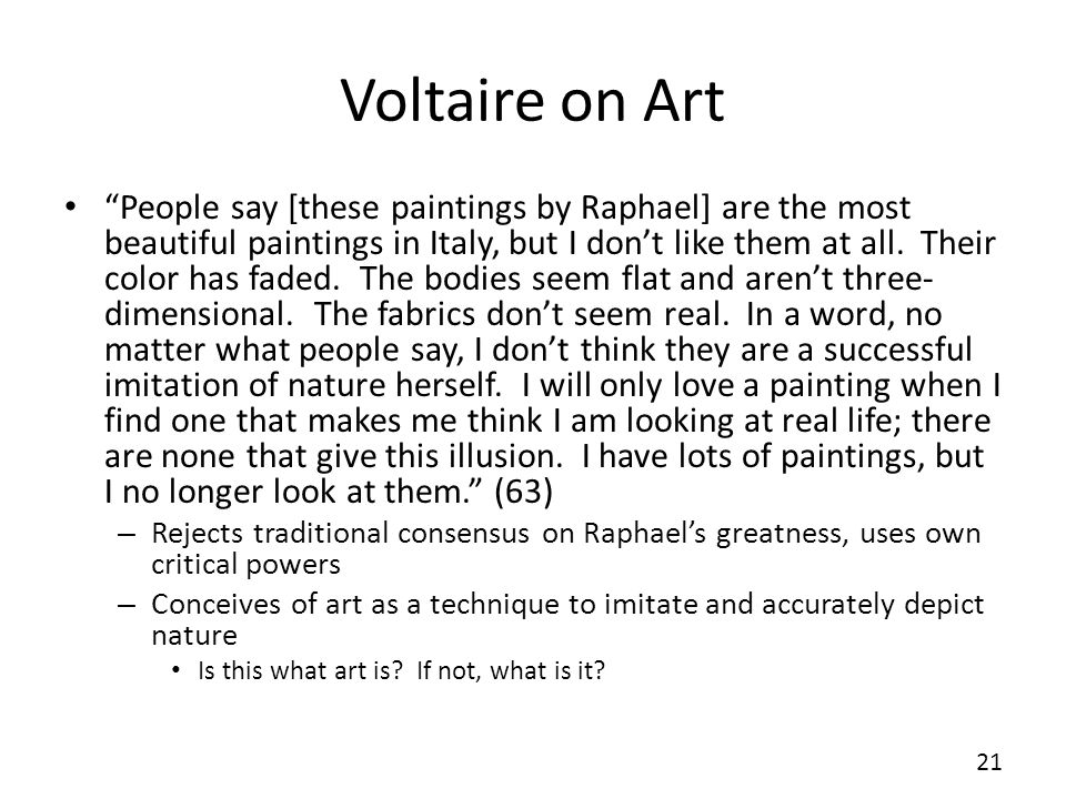 Voltaire on Art
