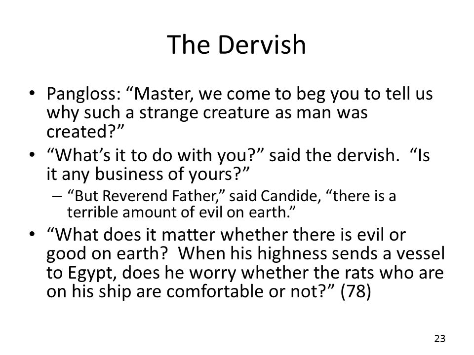 The Dervish Pangloss: Master, we come to beg you to tell us why such a strange creature as man was created
