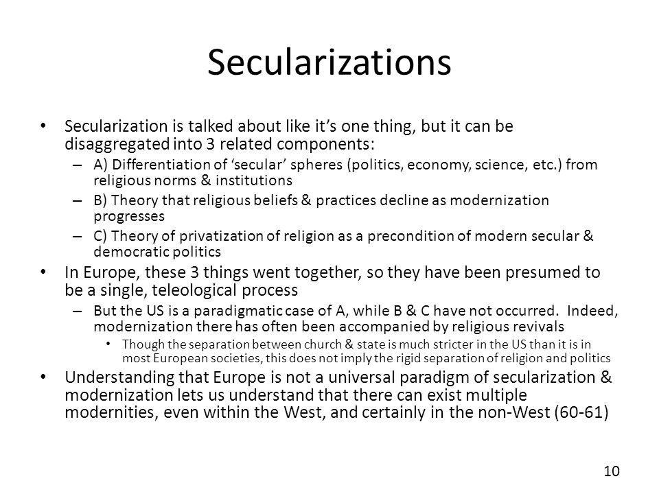 Secularizations Secularization is talked about like it's one thing, but it can be disaggregated into 3 related components: