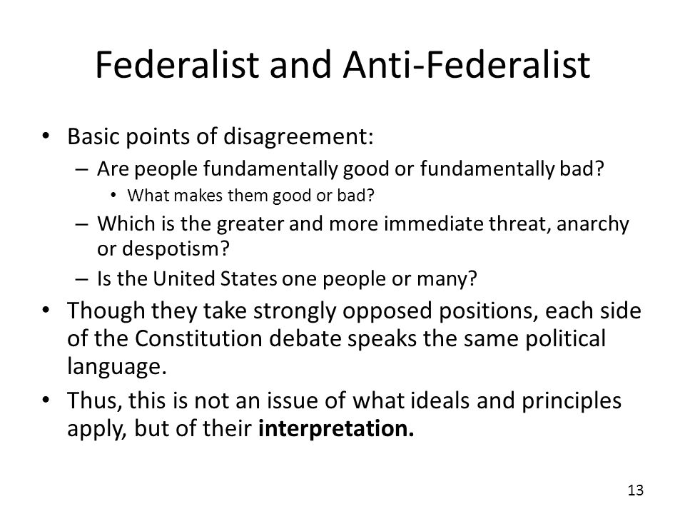 Federalist and Anti-Federalist