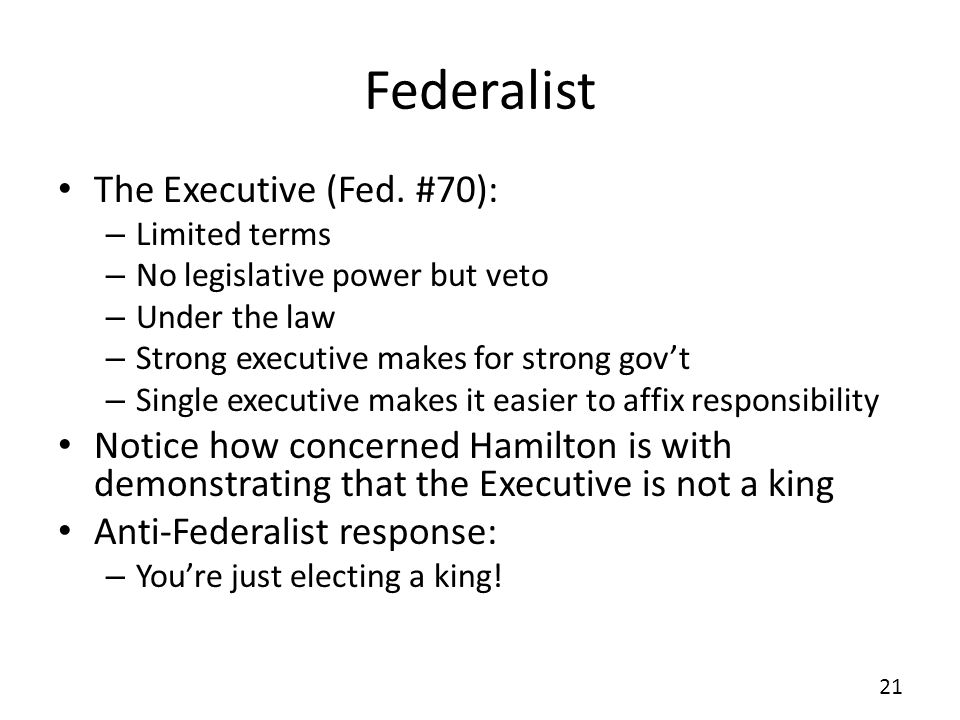 Federalist The Executive (Fed. #70):