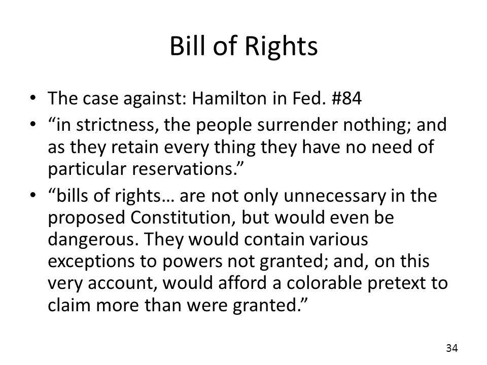 Bill of Rights The case against: Hamilton in Fed. #84