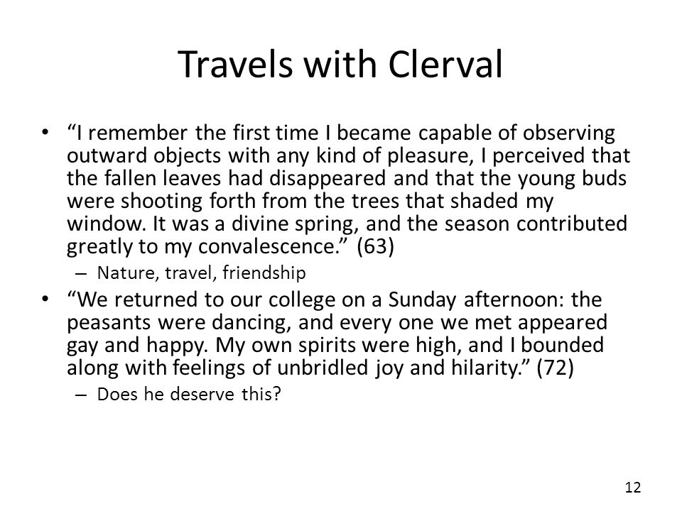 Travels with Clerval