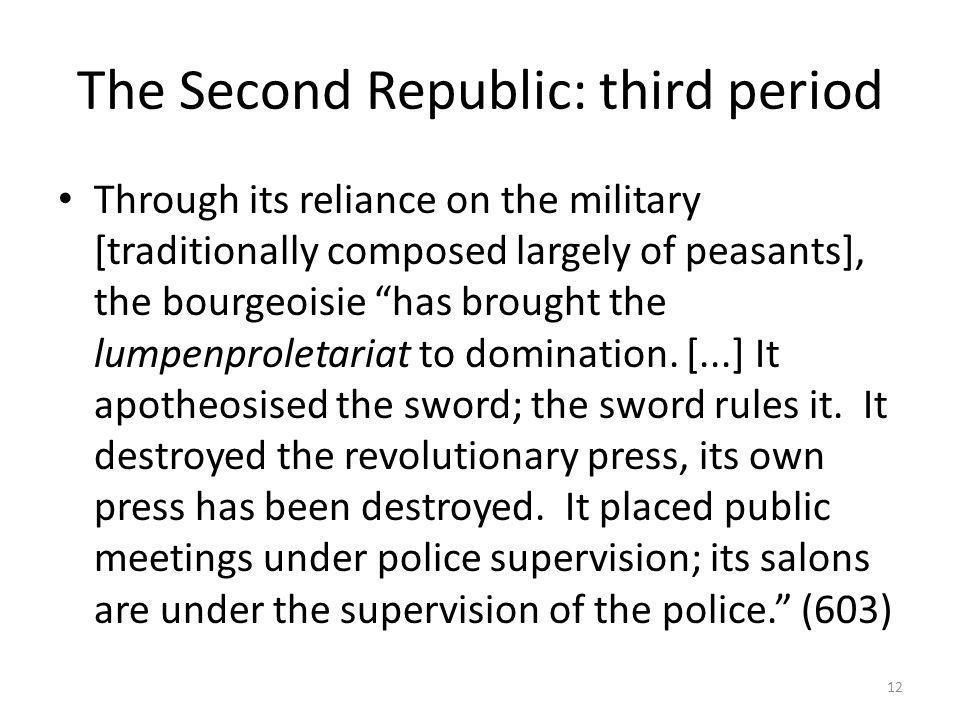 The Second Republic: third period