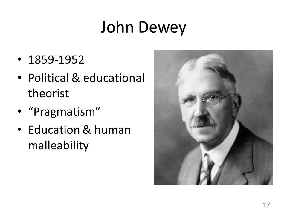 John Dewey 1859-1952 Political & educational theorist Pragmatism