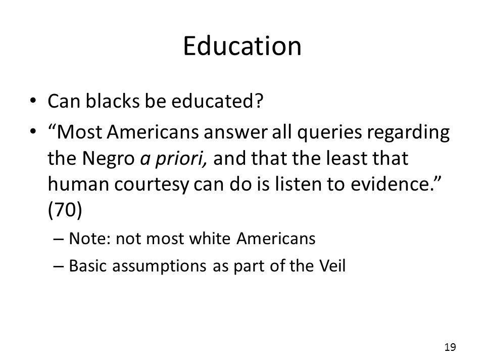 Education Can blacks be educated