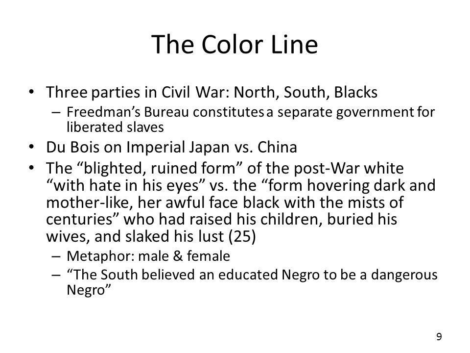 The Color Line Three parties in Civil War: North, South, Blacks
