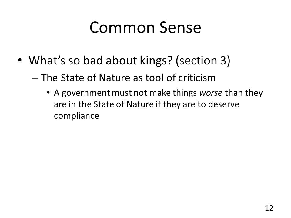 Common Sense What's so bad about kings (section 3)