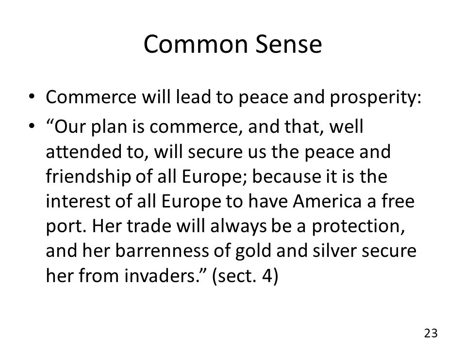 Common Sense Commerce will lead to peace and prosperity: