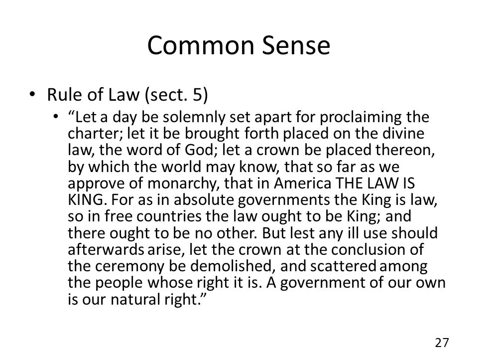 Common Sense Rule of Law (sect. 5)
