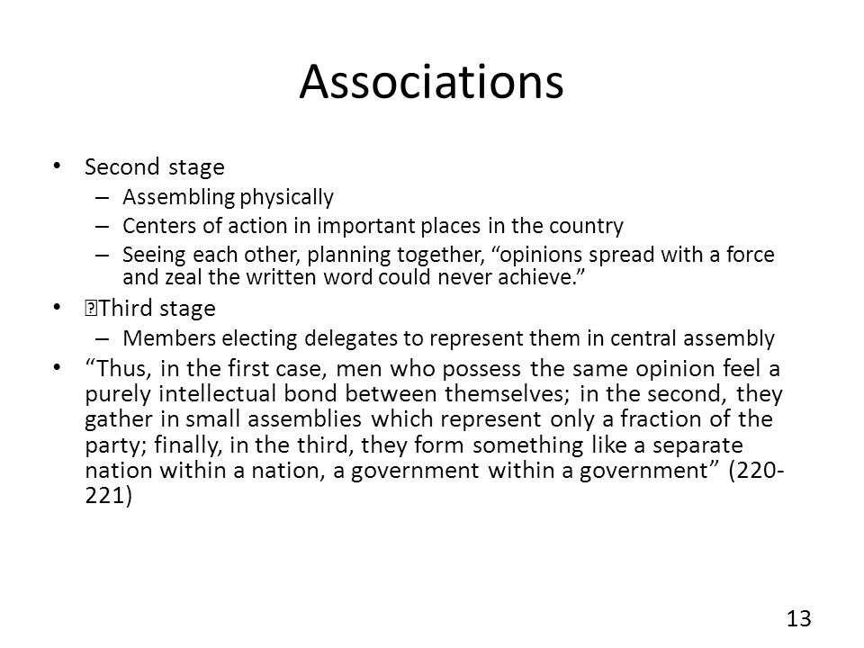 Associations Second stage Third stage