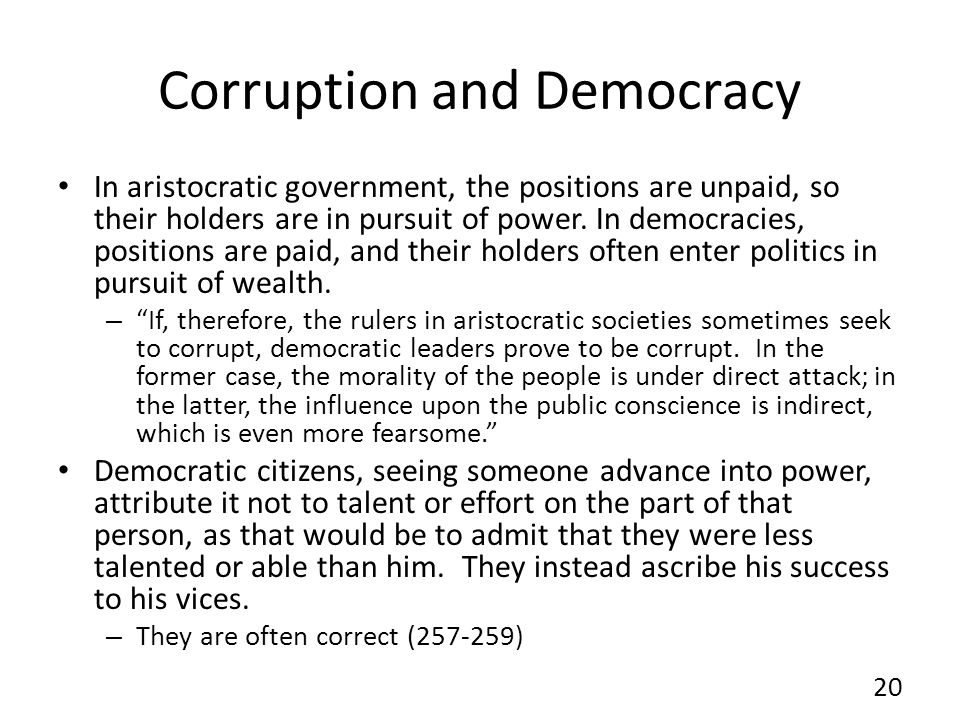 Corruption and Democracy