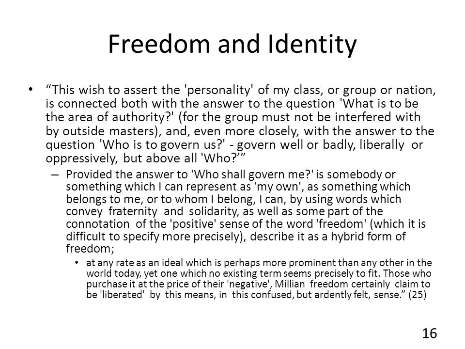 Freedom and Identity
