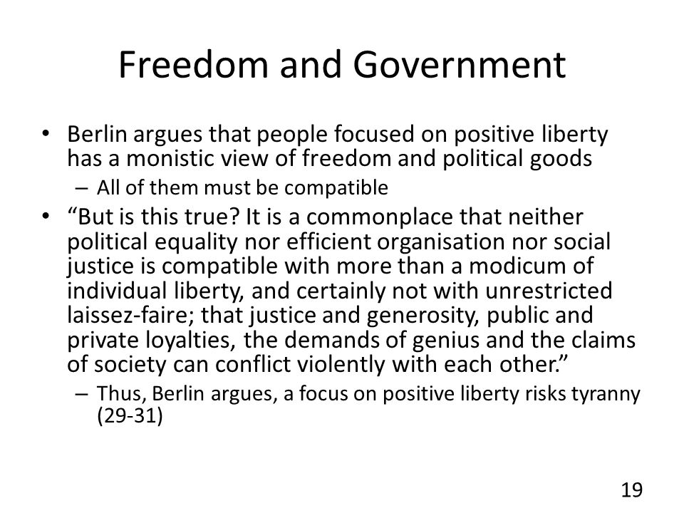 Freedom and Government