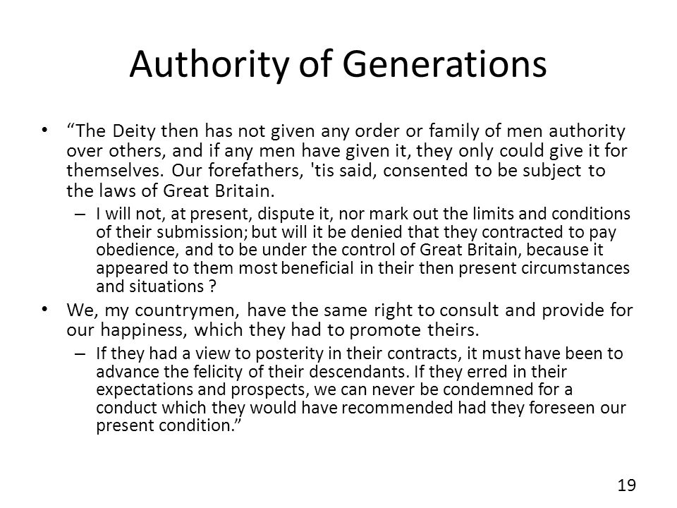 Authority of Generations