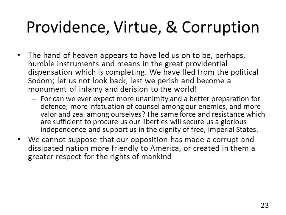 Providence, Virtue, & Corruption